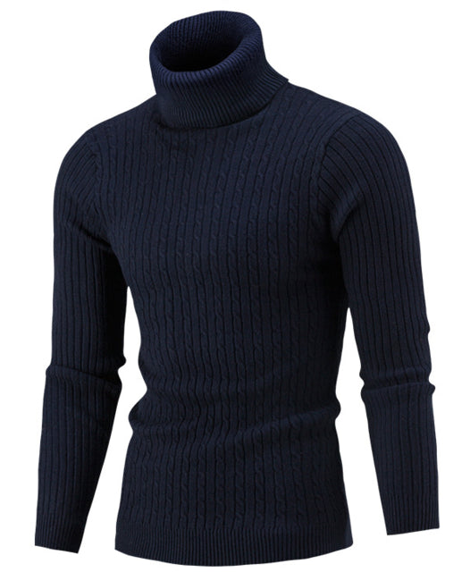 Sweater Men 2018 Brand Pullovers Casual Sweater Male High Collar Solid Simple Slim Fit Knitting Mens Sweaters Man Pullover Men S-ivroe