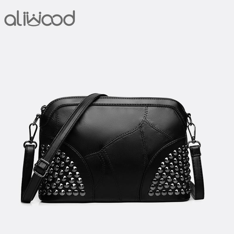 Aliwood New Shell Women Bag Genuine Leather Shoulder Bag Ladies' Handbag Female Messenger Bags Simple Rivet Crossbody Bags Bolsa-ivroe