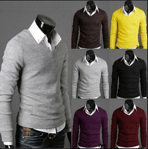 casual sweater v neck men New famous brand pullover men sweaters hombre mens jumper-ivroe