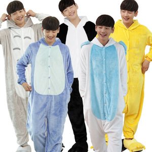 Men Flannel Animal Pyjamas Warm Hooded Full Sleeve Sleep Lounge Onesies Adult Anime Pajamas Sets Stitch Panda Unicorn Pajamas-ivroe
