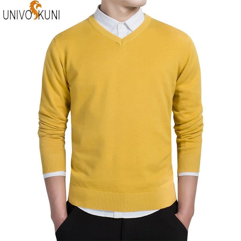 UNIVOS KUNI 2018 Autumn Fashion Casual Men Sweaters Pullover Slim Fit 100% Cotton Solid Men Sweaters Pullover Plus Size 3XL J257-ivroe