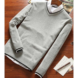 2018 Autumn And Winter New Men's Long-sleeved Sweater Slim V-neck Pure Color Men's Business Casual Sweater B0274-ivroe