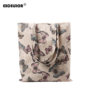 EXCELSIOR 2018 Retro Women Casual Bag Cotton Linen Butterfly Printed Shopping Bags Single Shoulder Handbag Pouch Ladies Tote-ivroe