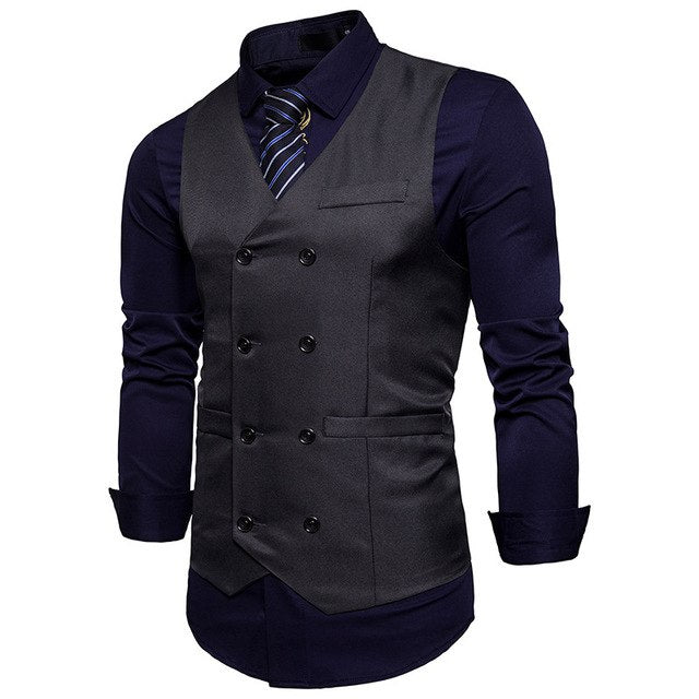 New Brand Dress Vests For Men Casual Slim Fit Mens Suit Vest Double breasted Waistcoat Gilet Homme Formal Business Jacket XXL-ivroe