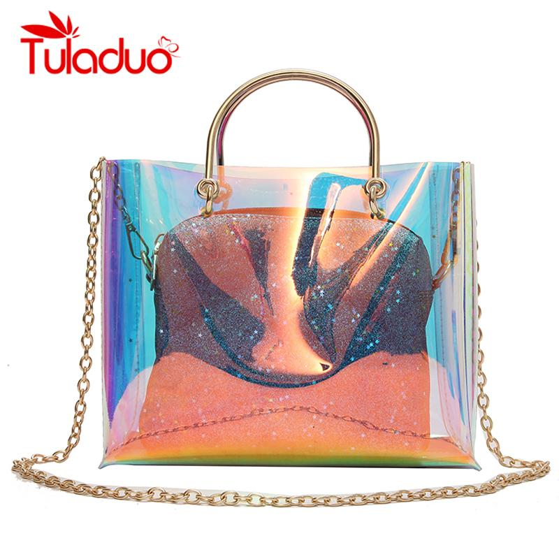 Women Transparent Bag Clear PVC Jelly Small Tote Shoulder Bags Laser Holographic Chain Bags Female Lady Sac Femme Bandoulier-ivroe