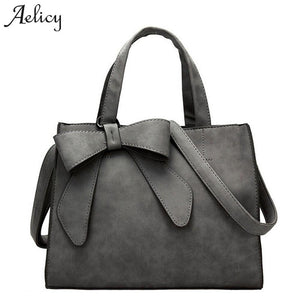 Aelicy luxury pu leather women's fashion cute bow handbag design fake designer handbags crossbody bags for women day clutches-ivroe