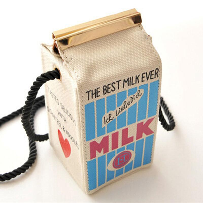 201Small Shoulder Bags Cute Stereo Mini Milk Box Makeup Cartoon Bag Women Fashion Letter Canvas Shoulders Bag Free Shipping-ivroe