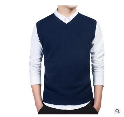 Loldeal M-3XL Casual Sweater Men Male Sweater Vest Men Knitted Sleeveless Men Sweater V Neck Christmas Sweater-ivroe