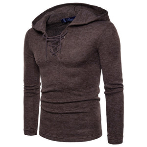 Sweater Pullover Men Brand Casual Slim Sweaters Men Soild Color Hedging Assassin Drawstring Hooded Men Knitted Sueter Hombre-ivroe