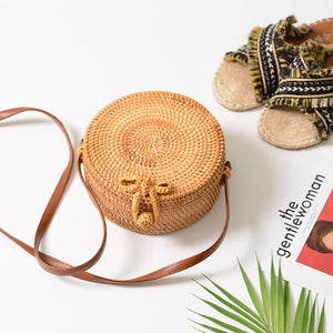 Round Straw Bags For Women Summer Beach Shoulder Bag Rattan Handmade Woven Crossbody Circle Bag Bohemia bowknot Handbags Bali-ivroe