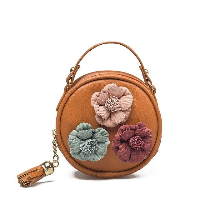 Children Handbag Women Cartoon Flower Tassel PU Waterproof Shoulder Bag Kids Messenger Bags New Fashion Women Bag Bolsos Mujer-ivroe
