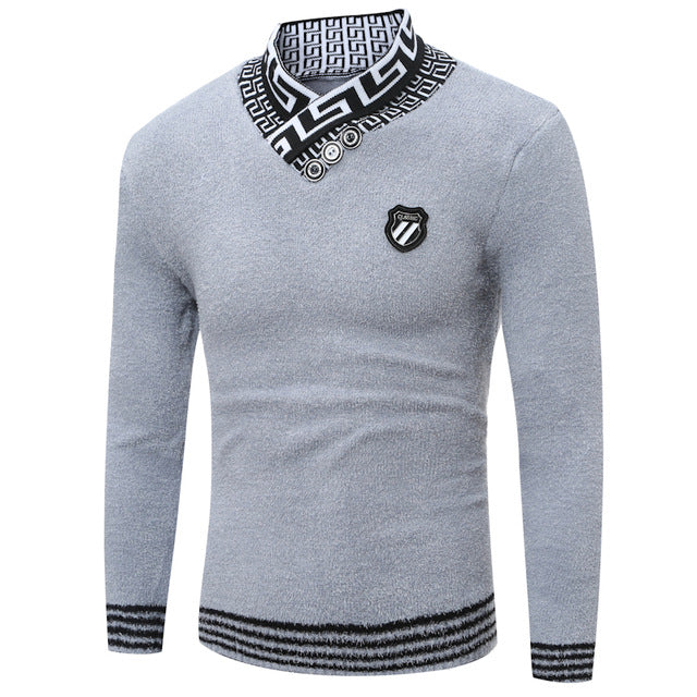 2018 Brand New Sweaters Men Fashion Style Autumn Winter Patchwork Knitted Quality Pullover Men V-Neck Casual Men Sweater S-XXL-ivroe