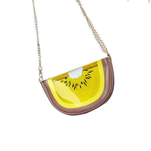Fashion Summer Women Shoulder Bags Leather Transparent Lemon/Watermelon/Kiwifruit Metal Chain Ladies Girls Messenger Bag FA$B-ivroe