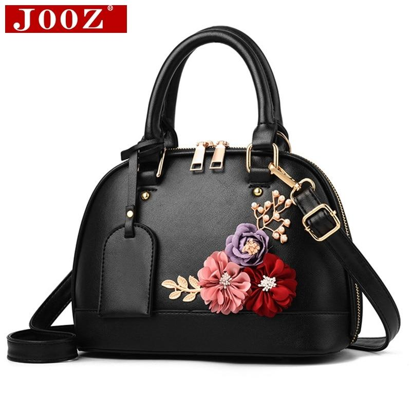 JOOZ Women Famous brand designer Luxury leather handbags Women messenger bag Ladies Shoulder bags Shell Floral Crossbody bag-ivroe