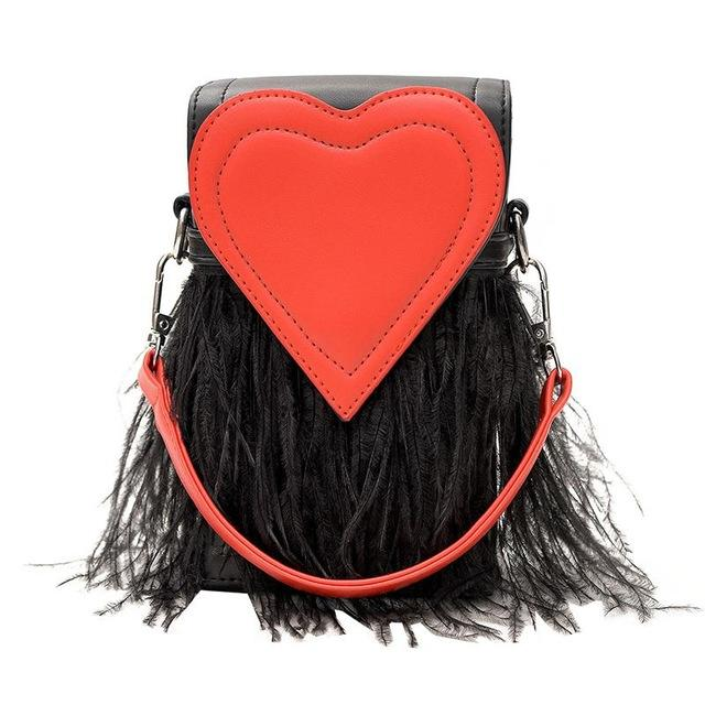 New Fashion Feathers Heart Shape PU Leather Party Casual Female Totes Ladies Handbag Chain Shoulder Bag Flap-ivroe