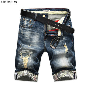 AIRGRACIAS New Fashion Mens Ripped Short Jeans Brand Clothing Bermuda Summer 98% Cotton Shorts Breathable Denim Shorts Male-ivroe