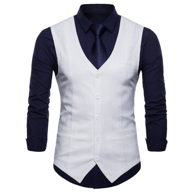 Mens Slim Fit Single Breasted Suit Vest 2018 Brand New Formal Dress Business Wedding Vest Waistcoat Men Solid Color Gilet Homme-ivroe