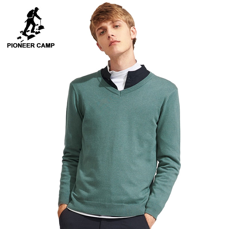 Pioneer Camp new solid pullovers men brand clothing casual V-neck autumn spring sweater male top quality kinitted sweater 566302-ivroe