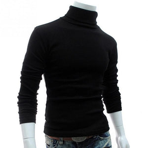 Cncool New Autumn Mens Sweaters Casual Male turtleneck Man's Black Solid Knitwear Slim Brand Clothing Sweater-ivroe