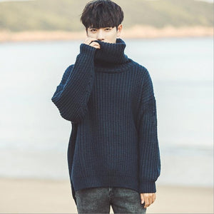 Fashion 2018 Indoor Casual Turtleneck loose Hip Hop male students winter Warm Pullovers Elastic shirts teenagers sweater-ivroe