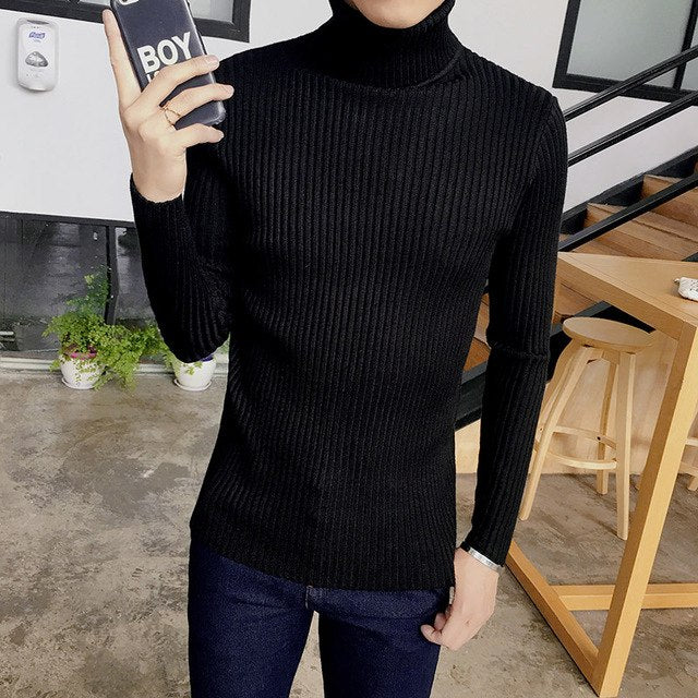 2017 spring mens pullovers sweater, fashion cotton high-neck long sleeve sweater , Slim solid color men Sweaters-ivroe