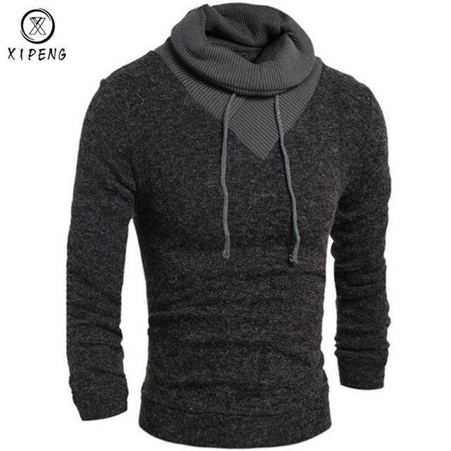 Sweater Pullover Men 2018 Male Brand Casual Slim Sweaters Classic High Collar Simple Solid Color Men Sweater-ivroe