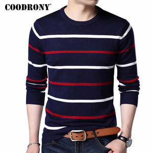 COODRONY O-Neck Pullover Men Brand Clothing 2018 Autumn Winter New Arrival Cashmere Wool Sweater Men Casual Striped Pull Men 152-ivroe