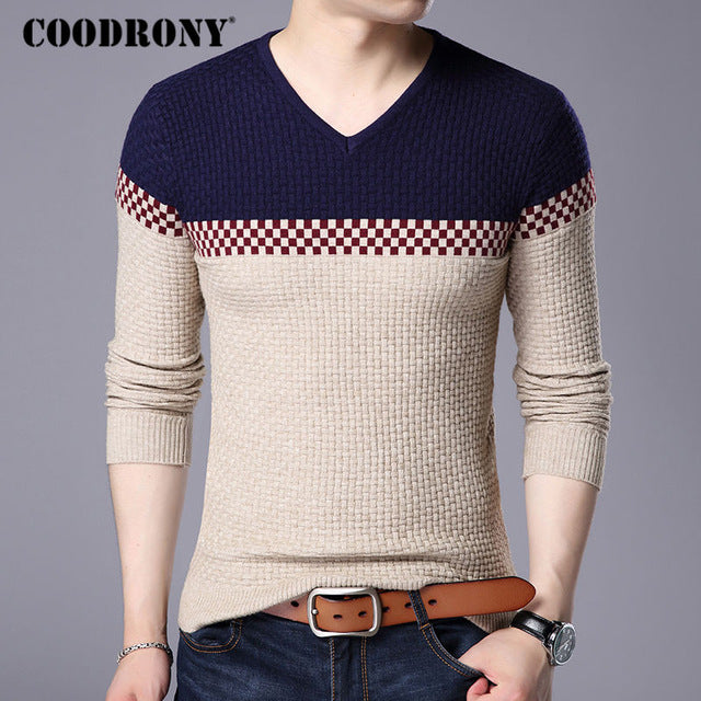 COODRONY 2018 Autumn Winter Warm Wool Sweaters Casual Hit Color Patchwork V-neck Pullover Men Brand Slim Fit Cotton Sweater 155-ivroe