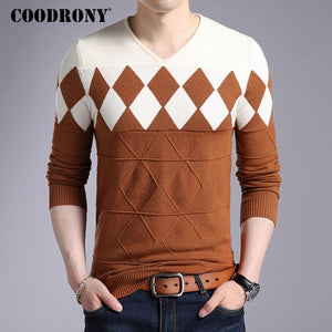 COODRONY Cashmere Wool Sweater Men 2018 Autumn Winter Slim Fit Pullovers Men Argyle Pattern V-Neck Pull Homme Christmas Sweaters-ivroe