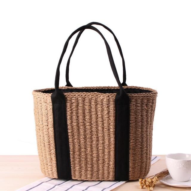 OCEHNUU New Woven Woman Bag Casual 2018 Summer Ladies Straw Beach Bags Women Handbags High Quality Knitted Women's Shoulder Bag-ivroe