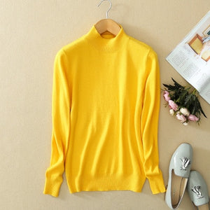 2018 Fashion Pure Color Cashmere Men's Sweater Semi-high Collar Male Knitted Sweater Men Women Loose Pullover Turtleneck Sweater-ivroe