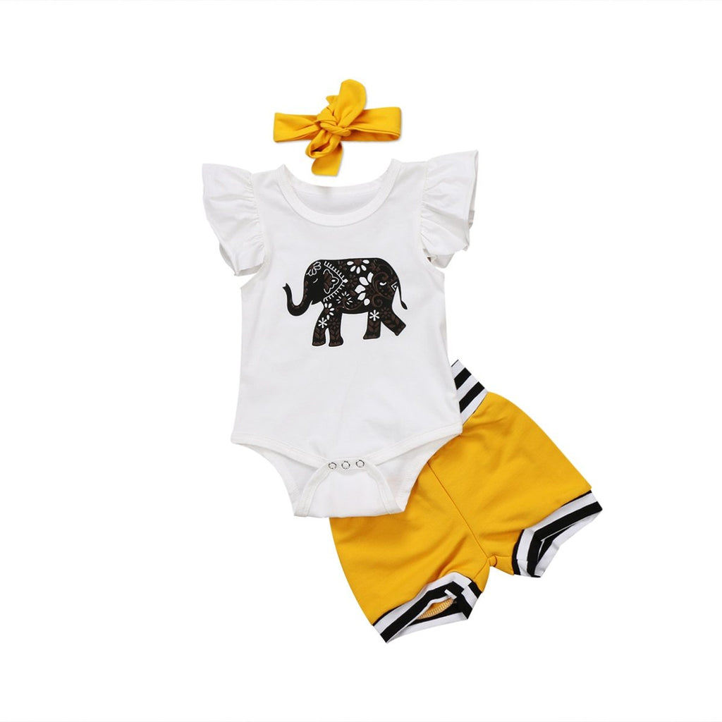 0-18M Newborn Infant Baby Boy Girl Elephant Romper Jumpsuit+Shorts Bloomers Headband 3PCS Outfits Summer Clothes Set-ivroe