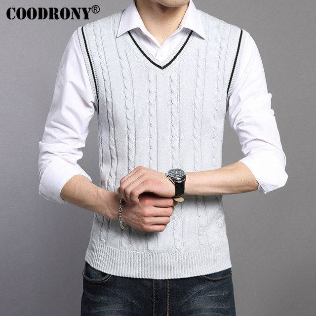 COODRONY Wool Vest Men 2018 Autumn Winter New Classic V-neck Sleeveless Sweater Men Cotton Knitwear Pull Men Brand Clothing 7401-ivroe