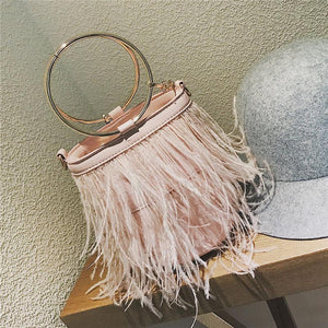 Feather Women bag 2018 New Handbag High quality PU Leather Tassel Bucket bag Metal Ring Portable Tote bag Chain Shoulder bags-ivroe