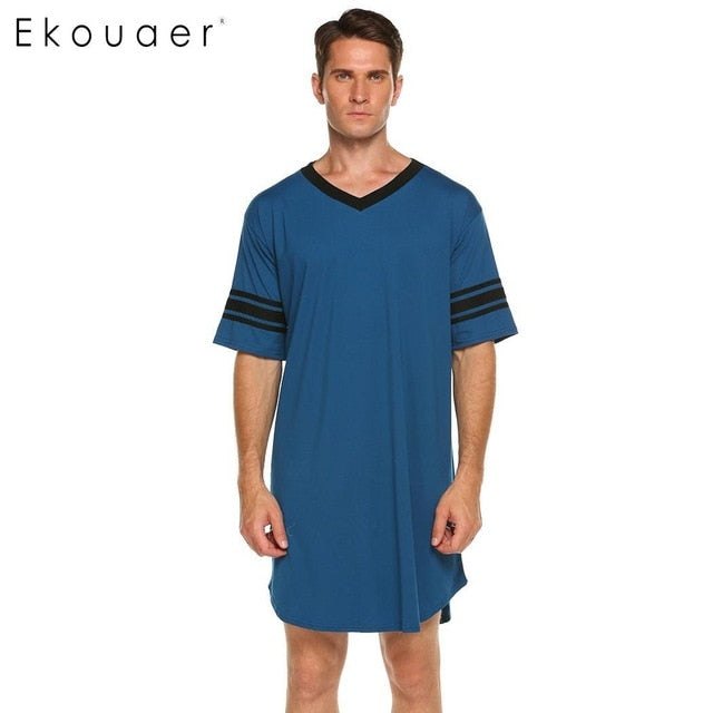 Ekouaer Men Sleepwear Long Nightshirt Short Sleeve Nightwear Night Shirt Soft Comfortable Loose Sleep Shirt Male Home Clothing-ivroe
