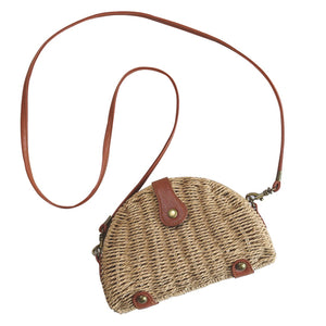 HIPSTEEN 2018 Women Bags Mini Semicircle Woven Straw Cross-Body Bag Handmade Messenger Bag With Removable Shoulder Strap Design-ivroe