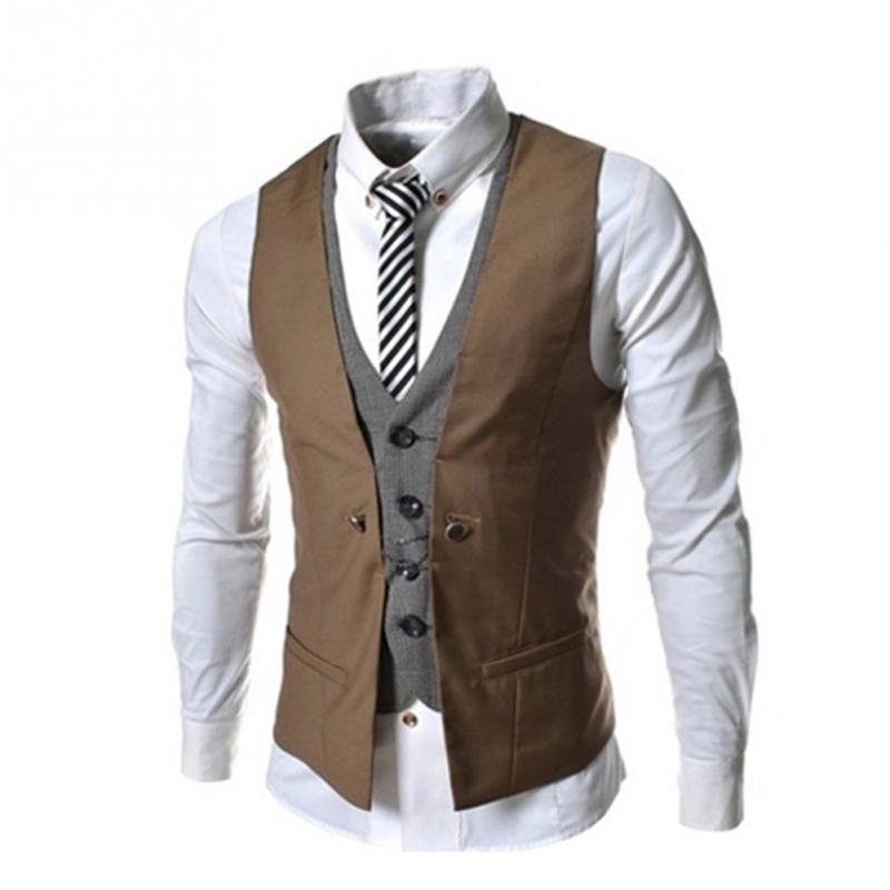 2018 Fashion Sleeveless Jacket Waistcoat Men Suit Vest Male British Style Slim Cotton Single breasted Vintage Vests-ivroe