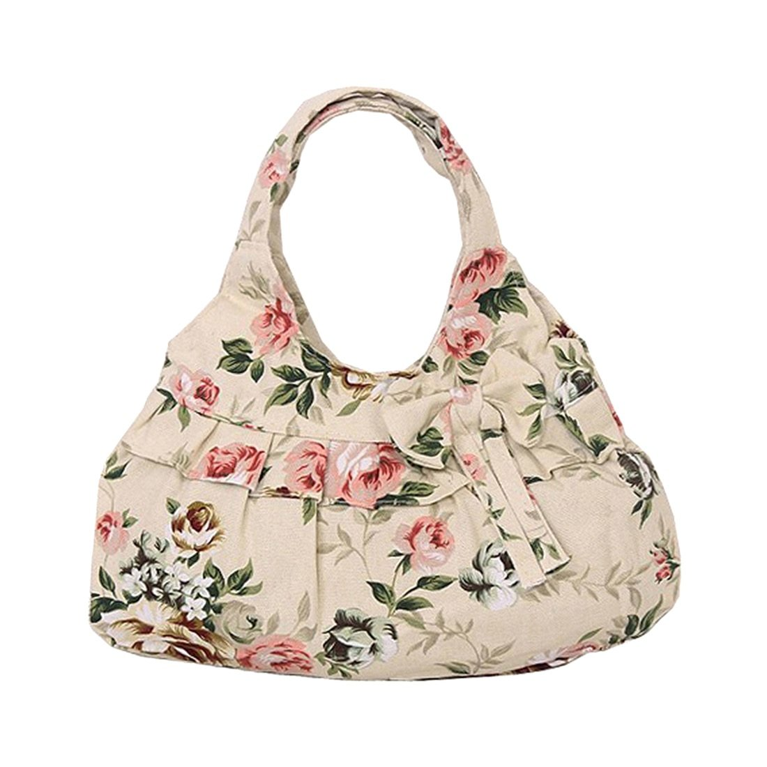 2018 new hot Fashion and high quality casual Vintage Retro Style Women canvas Bow Flora printing Mini handbag(Khaki Flower)-ivroe