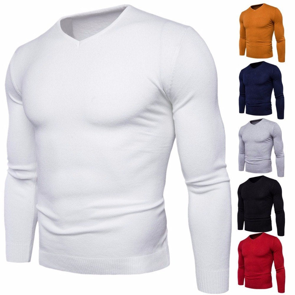 2018 Autumn winter men's V-neck sweater Fashion solid color long-sleeved men's sweater jacket M-2XL-ivroe