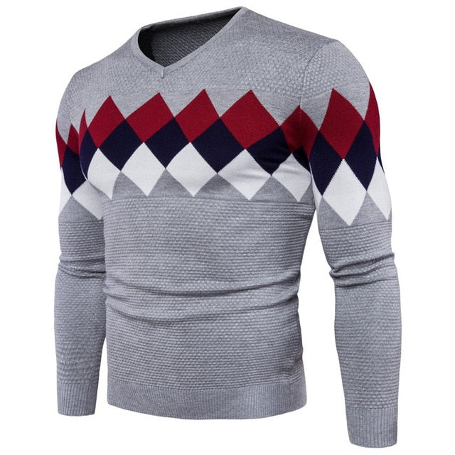 2018 men's cotton v-neck lattice-style sweaters fashion men's stitching color slim long sleeve sweater for male Autumn winter-ivroe