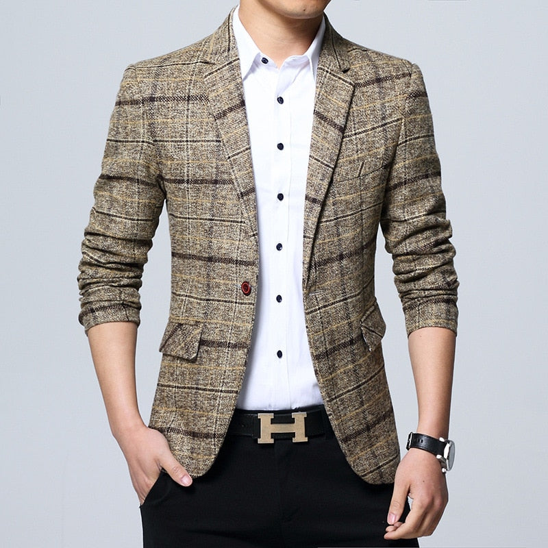 new 2018 men checked suit Cultivate one's morality plaid Suit business and leisure suit-ivroe