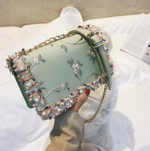 Lace Flowers Women bag 2018 New handbag High quality PU Leather Sweet Girl Square bag Flower Pearl Chain Shoulder Messenger Bag-ivroe