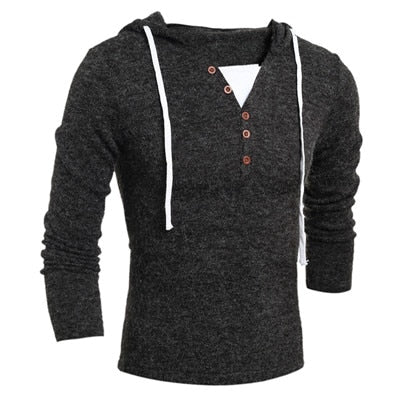 VISADA JAUNA 2018 Spring Autumn Casual Mens Sweater V-neck Button Fashion Knitting Sweaters Hooded Slim Fit Men's Sweater N8907-ivroe