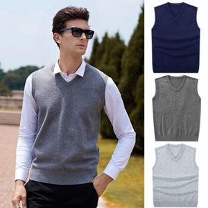 Hirigin 2018 Men Sleeveless Sweaters Knitted Warm Wool V Neck Sweaters Fashion Solid Autumn Vest Outwear Clothes Men Plus Size-ivroe