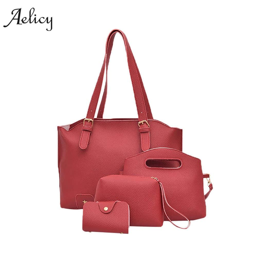 Aelicy Women Handbags High Quality PU Leather Shoulder Bags 4 set Female Handbag Messenger Crossbody Bags Purses Bolsa Feminina-ivroe