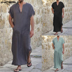 INCERUN 2018 Full Length Short Sleeve Robes Men V-neck Solid Casual Loungewear Vintage Loose Islamic Arab Kaftan Pajamas S-5XL-ivroe