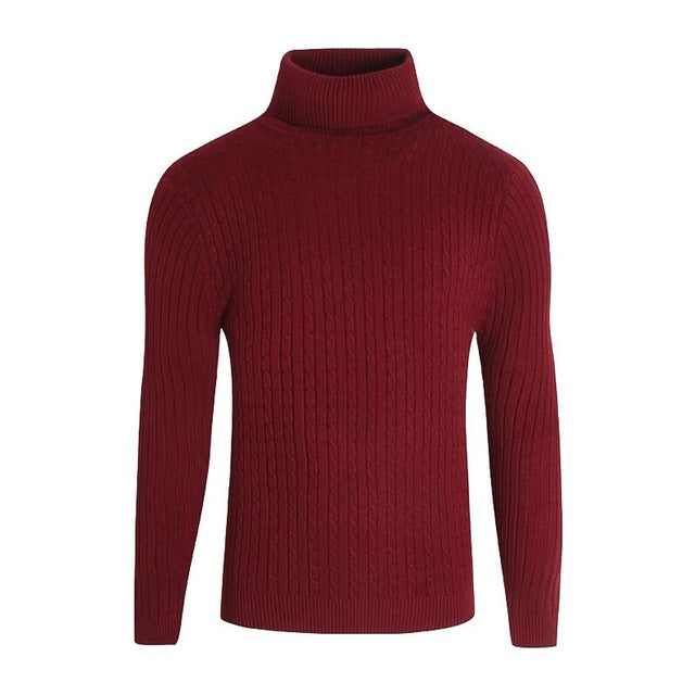 Men Sweater 2018 Autumn Thick Warm Sweaters Brand Knitted Pullover Simple Turtleneck Sweater Solid Color Man Jumpers Pull Homme-ivroe