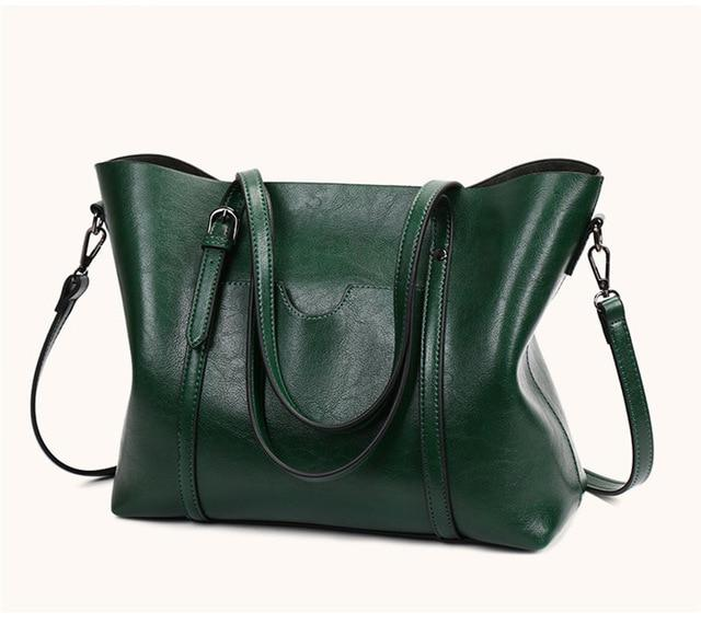 Women Bag Oil Wax Leather Handbags Luxury Lady Hand Bags with Purse Pocket Women Shoulder Bag Big Tote Sac Bolsos Mujer New 2018-ivroe