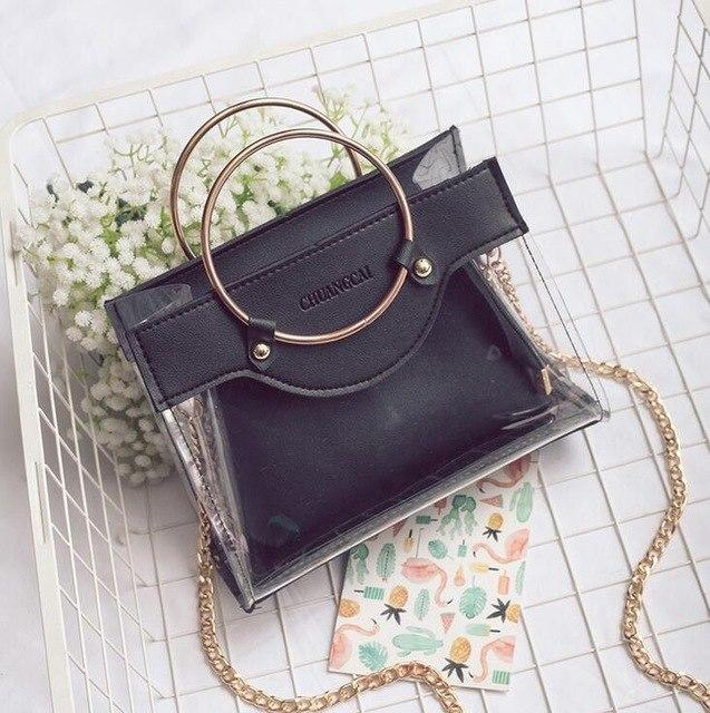 2018 Summer Fashion New Handbags High quality PU leather Women bag Sweet lady Transparent Jelly Chain Shoulder Messenger bag-ivroe
