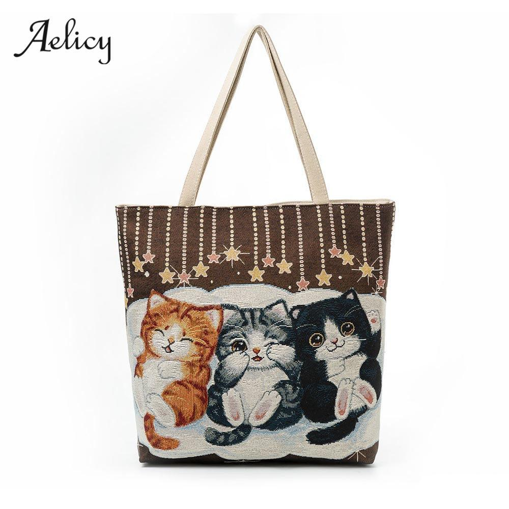 Aelicy Luxury Women Canvas Cat Printed Canvas Tote Casual Beach Bags Women Shopping Bag Handbags Large Capacity Ladies Bolsas-ivroe